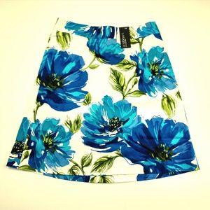 Lane Bryant White Blue Summer Floral A-Line Skirt